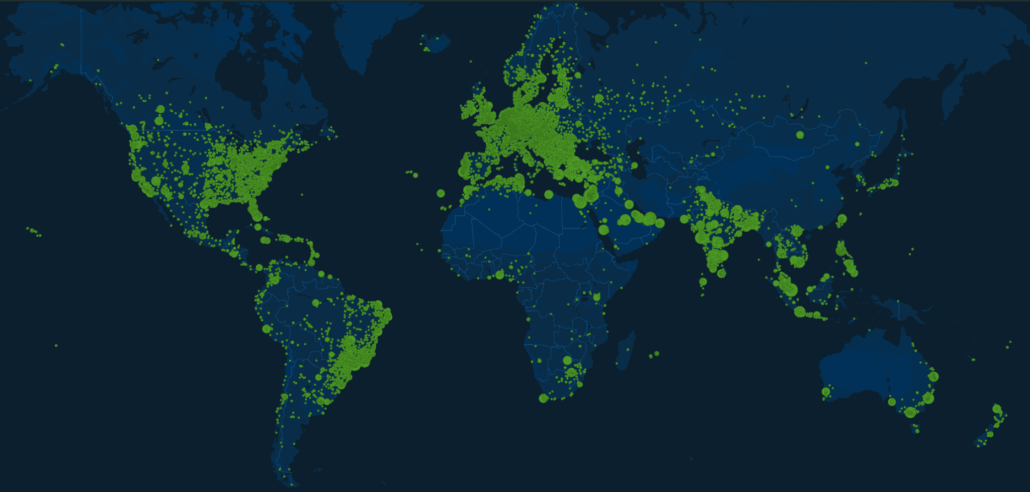 A world map showing the nodes on the Salad network.